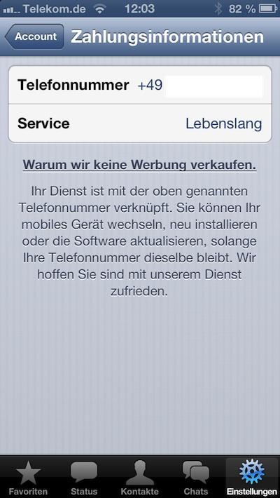 WhatsApp & iOS: Abo-Gebühr nun auch unter iOS