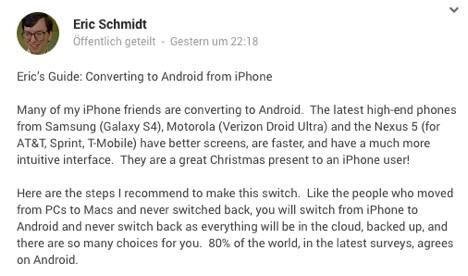 iPhone zu Android: Eric Schmidt will Apple-Nutzer konvertieren