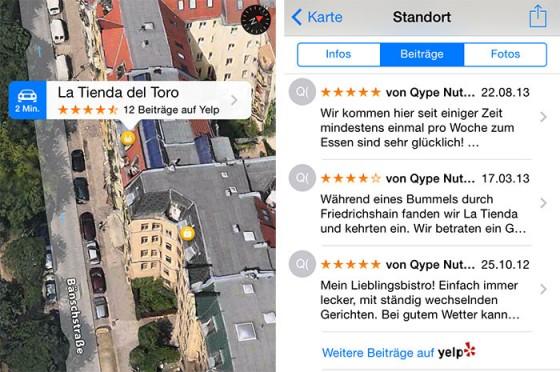 iOS 7: Apple Maps zeigt Qype-Bewertungen