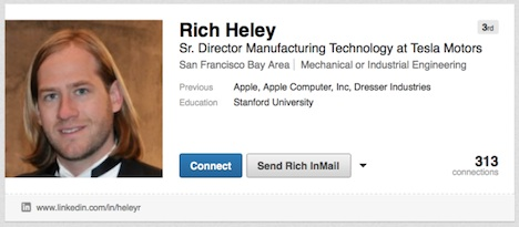 Apple-Mitarbeiter Rich Heley geht zu Tesla