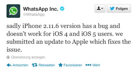 WhatsApp: Probleme mit iOS 4 und 5 bestätigt - Update folgt