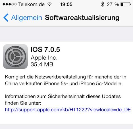 iOS 7.0.5 für iPhone 5S und 5C veröffentlicht