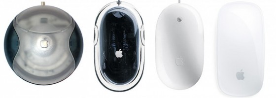 """Von links nach rechts: Apples USB """"Hockey Puck"""" Mouse, Pro Mouse, Mighty Mouse und die aktuelle Magic Mouse"""