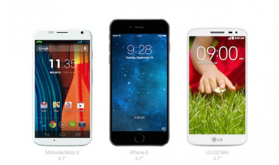iPhone 6: Größenvergleich mit Android-Devices (LG G2, One M7,...)