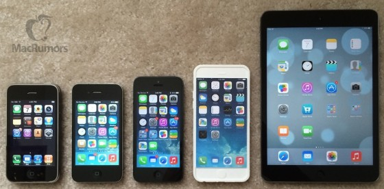 Von links nach rechts: iPhone  3G, iPhone 4, iPhone 5, iPhone 6 mockup, Retina iPad mini