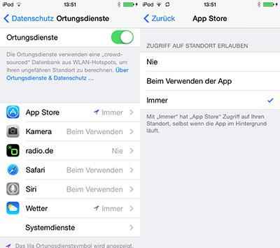 iOS 8: Ortungsdienste haben mehr Kontrollmöglichkeiten
