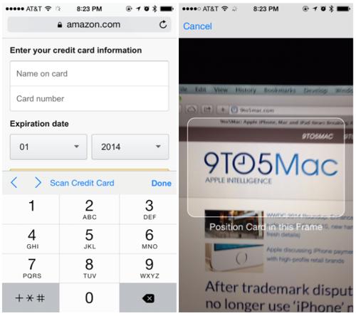 iOS 8: Kreditkarte mit Kamera einlesen