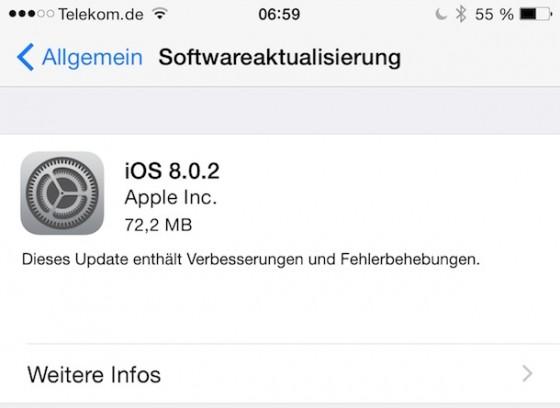 iOS 8.0.2: Update für iPhone, iPad und iPod touch da