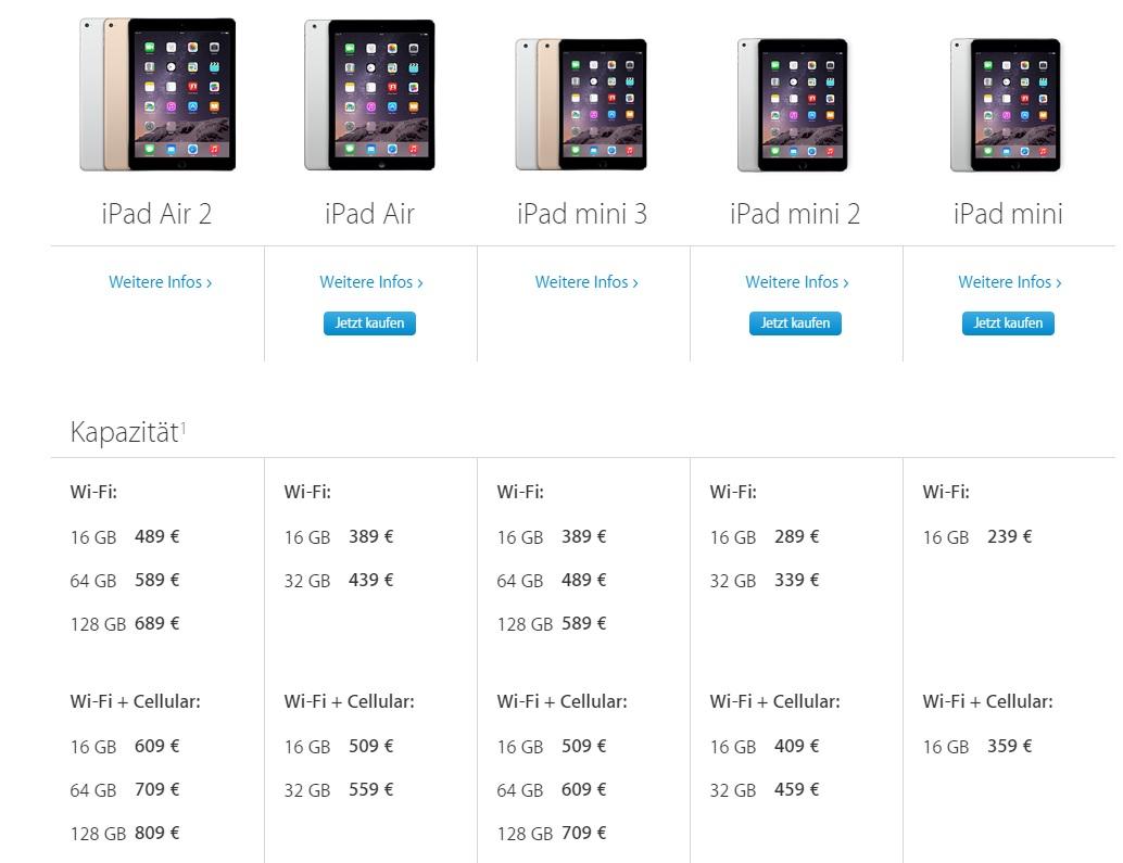 iPad Air & iPad mini 2: Preissenkungen ausgesprochen