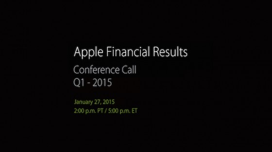 Apple Q1/2015 Quartalszahlen werden am 27. Januar veröffentlicht