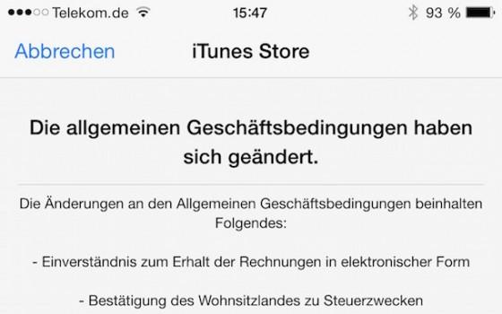 iTunes AGBs abgeändert: Elektronische Rechnung & Wohnsitz-Bestätigung