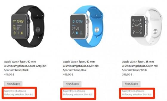 """Apple Watch: Lieferzeit bekannt """"sofort und bis 6 Wochen"""""""